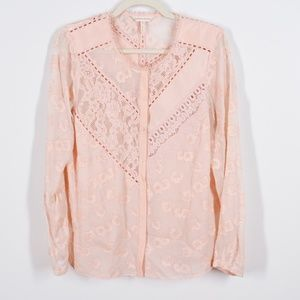 Rebecca Taylor Silk Pink Lace Button Front Blouse